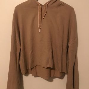 Tan loose cropped long sleeve with hood